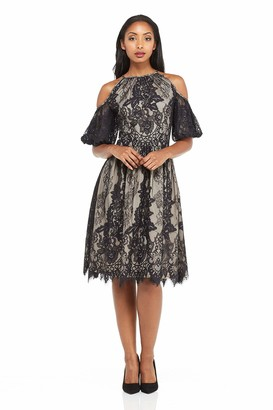 Maggy London Women's Chantilly Lace Cold Shoulder Fit & Flare