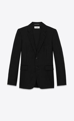 Saint Laurent Blazer Jacket Flannel Jacket With Rive Gauche Stripes Black And White 10