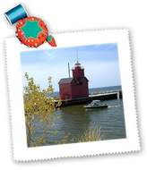 3dRose qs_91178_6 Holland Harbor Lighthouse at Holland, Michigan US23 DFR0047 David R Frazier Quilt Square, 16 by 16-Inch