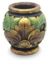 Gilded Hand Carved Mahogany Vase from Bali, 'Sukawati Vintage'