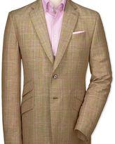 Charles Tyrwhitt Slim fit gold check luxury wool linen jacket