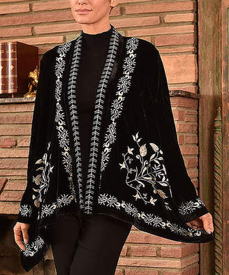 Paparazzi Women's Non-Denim Casual Jackets BLACK - Black & Beige Velvet Floral Embroidered Swing Jacket - Women