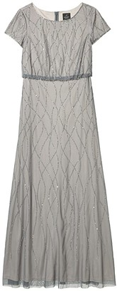 Adrianna Papell Long Beaded Blouson Gown (Pewter/Silver) Women's Dress