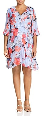 Adrianna Papell Plus Ruffled Floral Print Dress