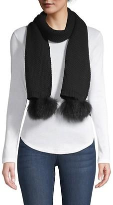 Portolano Fox Fur Pom-Pom Cashmere Scarf