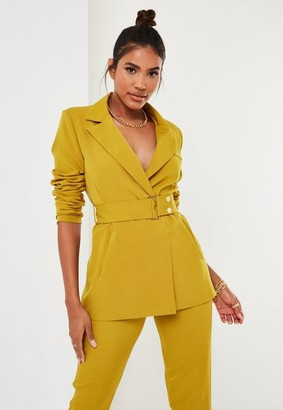 Missguided Tall Mustard Co Ord Belted Blazer