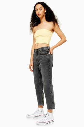 Topshop Womens Petite Grey Editor Straight Leg Jeans - Grey