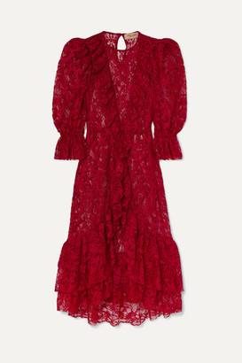 Adriana Degreas Bacio Ruffled Lace Midi Dress - Red