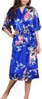 AMOMA Women's Plus Size Satin Peacock Design Kimono Robe Long Sleepwear S~2XL (XXX-Large, )