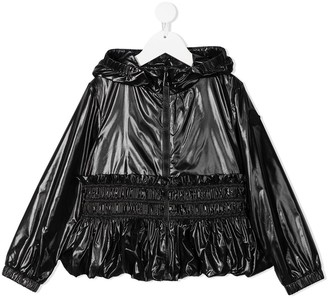Moncler Enfant Glossy Zip-Up Hooded Jacket