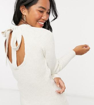 Miss Selfridge Petite bow back knitted mini dress in oatmeal