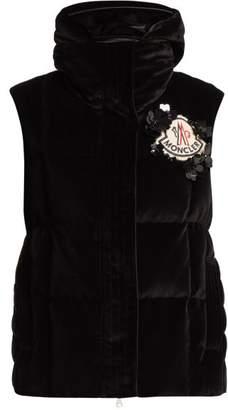 Simone Rocha 4 Moncler Jane High Neck Velvet Gilet - Womens - Black
