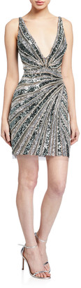 Jovani Beaded V-Neck Sleeveless Short Dress