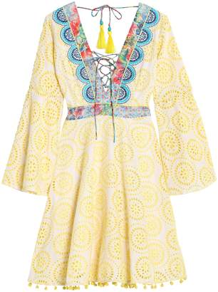 Matthew Williamson Lace-up Embroidered Broderie Anglaise Cotton And Silk-blend Dress