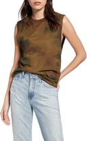 AG Jeans Zoey Watercolor Camo Print Stretch Cotton Muscle Tank
