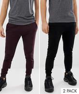 Asos Design ASOS DESIGN skinny joggers 2 pack black / burgundy