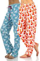 Ashford & Brooks Women's Plush Microfleece Pajama Sleep Pants 2 Pack - Multi