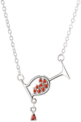 Amy And Annette Amy and Annette Women's Necklaces Silver - Garnet & Sterling Silver Wine Glass Pendant Necklace