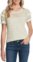 CeCe Ruffle Detail Pointelle Short Sleeve Sweater
