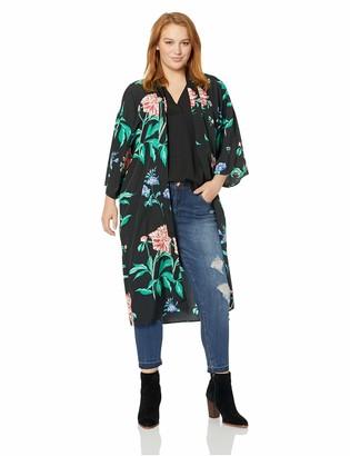 Junarose Women's Plus Size Paliva Three Quarter Sleeve Long Kimono