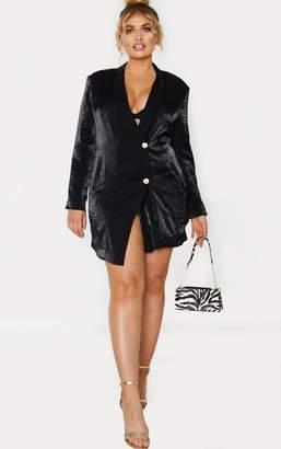 UNIQUE21 Plus Black Pleated Shimmer Gold Button Blazer Dress