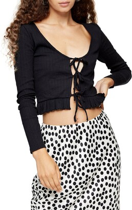 Topshop Lace-Up Crop Cardigan