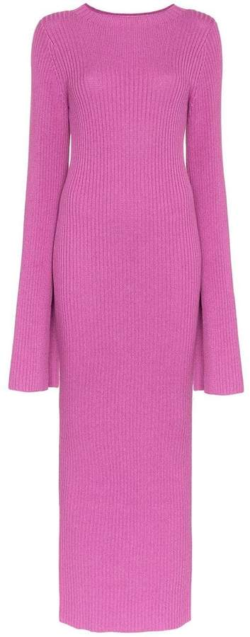SOLACE London Celina ribbed knit cotton blend dress