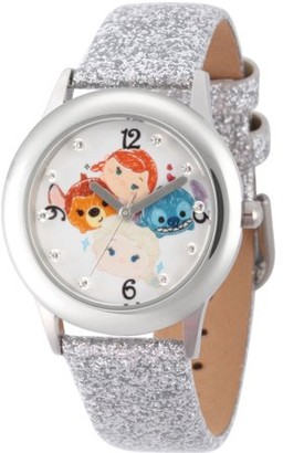 Disney Tsum Tsum Elsa, Anna, Bambi and Stitch Girls' Stainless Steel Time Teacher Watch, Silver Glitter Strap