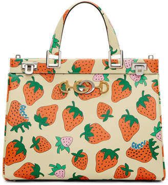 Gucci Off-White Medium Zumi Strawberry Top Handle Bag