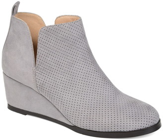 Journee Collection Mylee Perforated Wedge Bootie