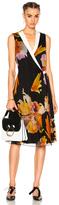 Lanvin Floral Wrap Dress in Black,Floral,Orange.