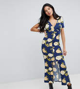 ASOS Tall ASOS TALL City Maxi Tea Dress with V Neck and Button Detail in Blue Floral Print