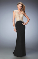La Femme 22349 Gilded Illusion Contrast Evening Gown