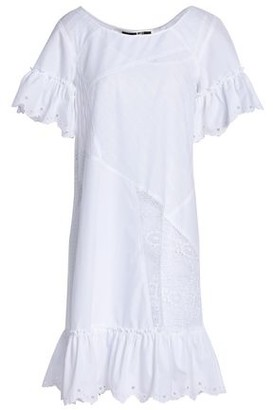 McQ Lace-paneled Broderie Anglaise Cotton Mini Dress