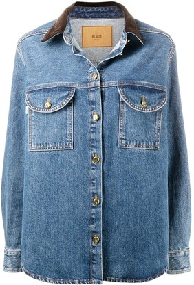 BLAZÉ MILANO Contrast-Collar Denim Jacket