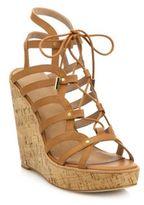Joie Larissa Leather Lace-Up Cork Wedge Sandals