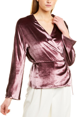 Vince Panne Wrap Silk-Blend Top