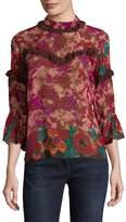 Anna Sui Women's Floral Frills Silk Blouse