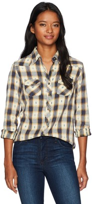 Angie Women's Long Sleeve Plaid Button up Top