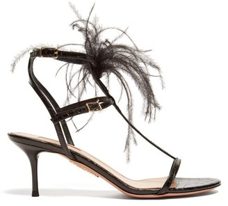 Aquazzura Ponza 60 Feather-embellished Leather Sandals - Black
