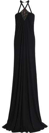 Roberto Cavalli Off-the-shoulder Ruched Beaded Crepe Maxi Dress