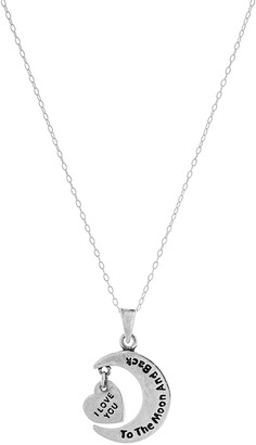 Best Silver Inc. Sterling Silver I Love You To The Moon And Back Pendant Necklace