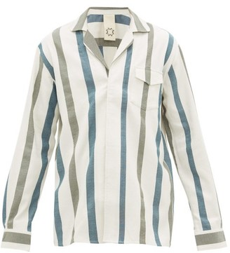 Marrakshi Life - Striped Cotton-blend Pyjama Shirt - Mens - Cream Multi