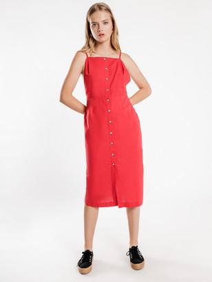 Nude Lucy Isla Linen Midi Dress in Tomato