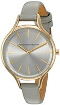 French Connection Women's 'Daisy Petite' Quartz Metal and Leather Watch, Color:Grey (Model: FC1253EG)
