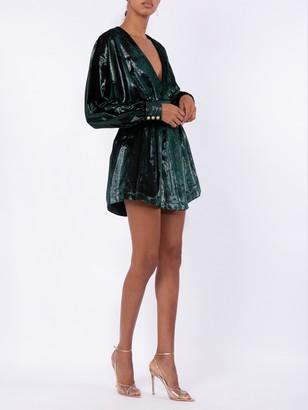 Balmain Velvety Metallic Dress Green