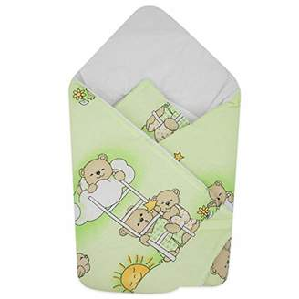 Camilla And Marc BlueberryShop Cotton Baby Swaddle Wrap Car Seat Blanket | Sleeping Bag for Newborns | 78 x 78 cm | Perfect for Prams & Cots | Intended for Kids Aged 0-3 Months | Green Bear on Ladder
