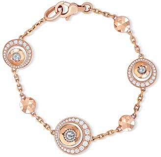 David Morris 18kt rose gold Rose Cut Forever Disc & Chain diamond bracelet