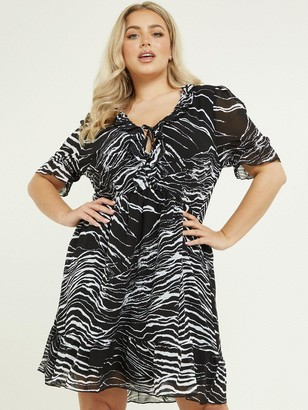Quiz Curve Zebra Print ShortSleeve Frill Detail Dress - Black