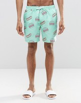 Asos Swim Shorts With Fast Food Print In Mid Length